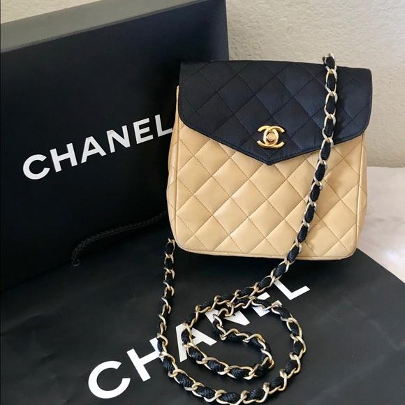 5c0f837f29bd CHANEL Handbags - CHANEL Quilted Bi-color CC Logo Flap Bag Vintage